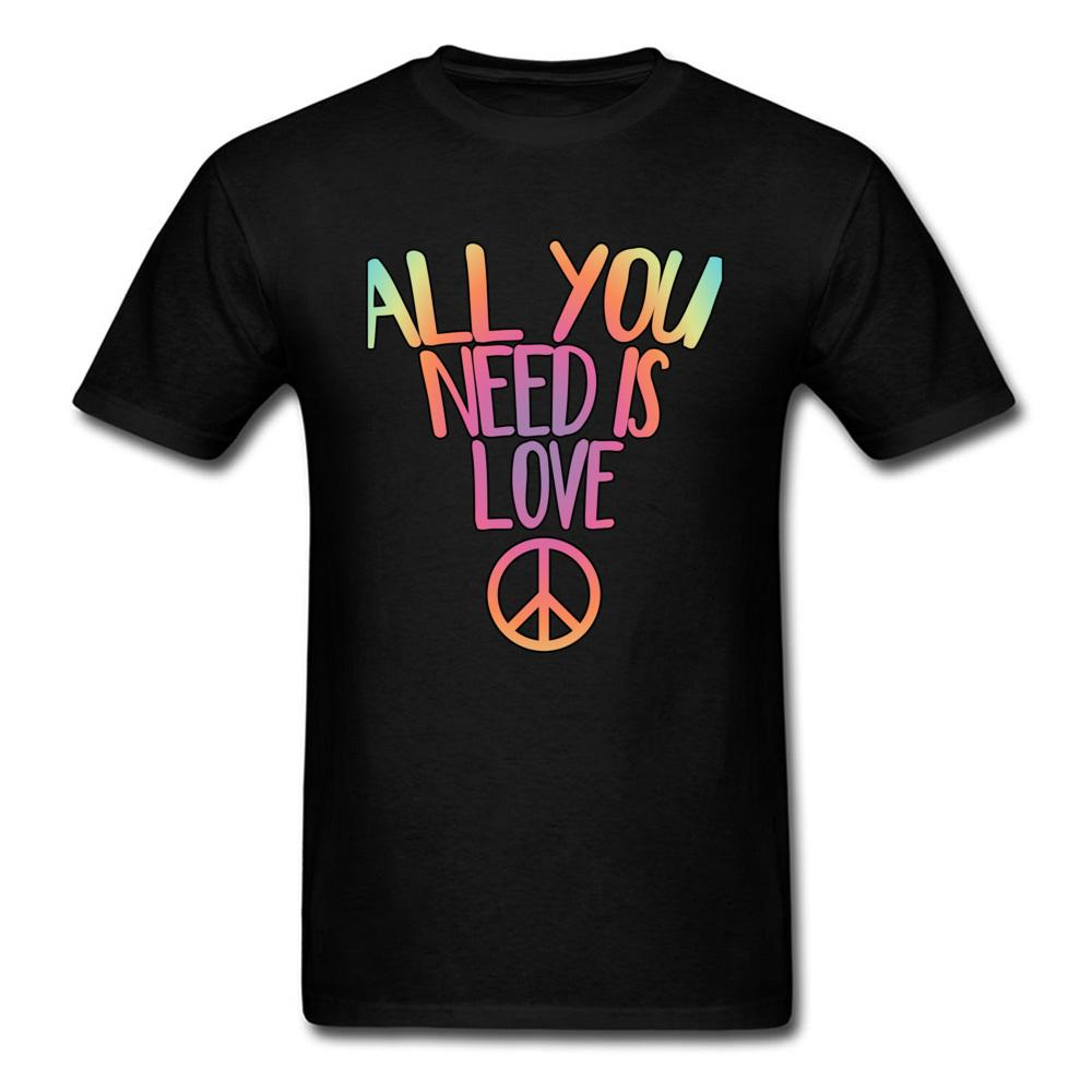 Pure Cotton T Shirts For Men All You Need Is Love Peace Custom Tops & Tees Funky Summer O-Neck Tee-Shirts Brand Clothing