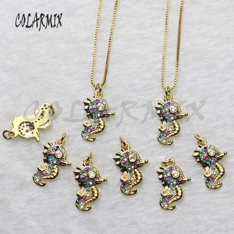12 шт. Seahorse form Zircon кулон ожерелье оптом милый крошечный золотой цвет моды ожерелье для ювелирных изделий подарок для леди 5460