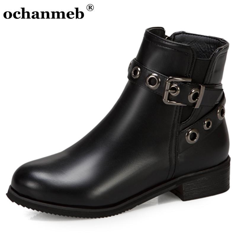 Малый размер 32 33 Коротких полусапожки Женских Buckled ремень Punk Street Boots Низких каблуки осень зима обувь Женские Плюс Размер 14 48 Загрузочных