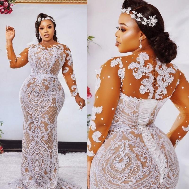 Mode Plus Size Sirène Robes de Mariée longue Sheer cou manches perles bateau Robes de mariée balayage train robe de mariée