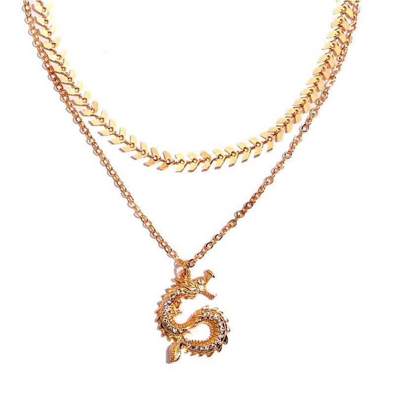 Cadena Flatfoosie oro de joyería chino del dragón de los hombres colgante animal Gargantilla de Corea moda minimalista Accesorios Minimalismo