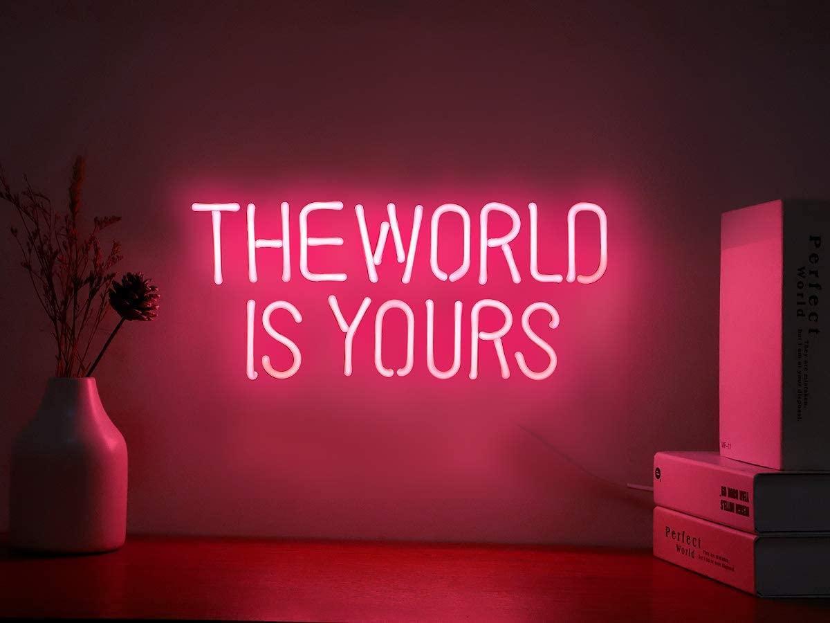세상은 당신의 벽 침실 룸 장식 파티 장식을위한 네온 표지판입니다 무료 배송