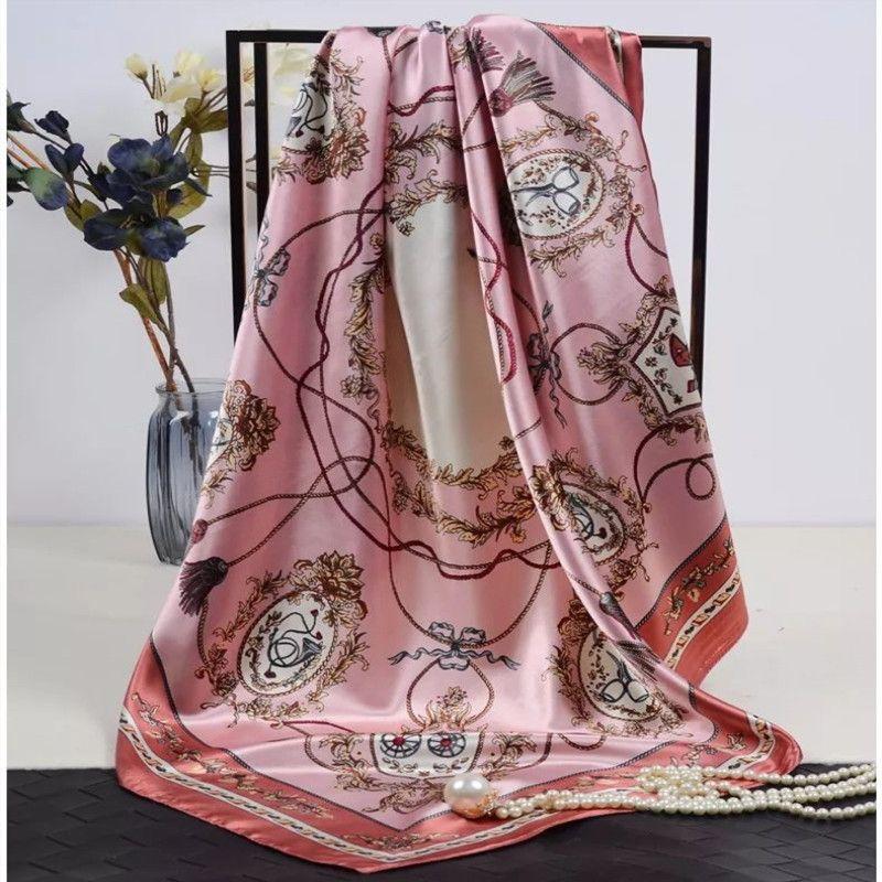 Moda Xaile Lenços Mulheres Floral Imprimir cetim de seda Scarf Feminino 90x90cm bela Praça Kerchief praia Xaile For Ladies Hijab