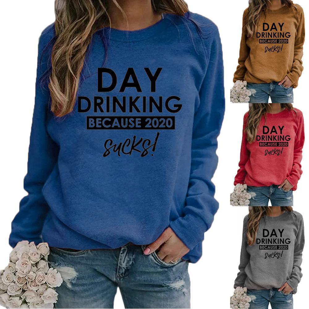 2020 neue Herbst-Frauen-Hoodies Sweatshirts Explosion Stil TRINK Brief Bluse TAG Rundhals drucken Langarm-Pullover Pullover