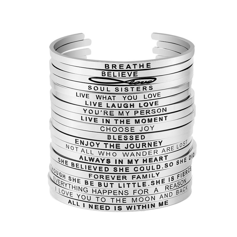 Venta de la joyería caliente inspirada brazalete para las muchachas de las mujeres de acero grabado positiva mantra pulsera Frases inoxidable 316L