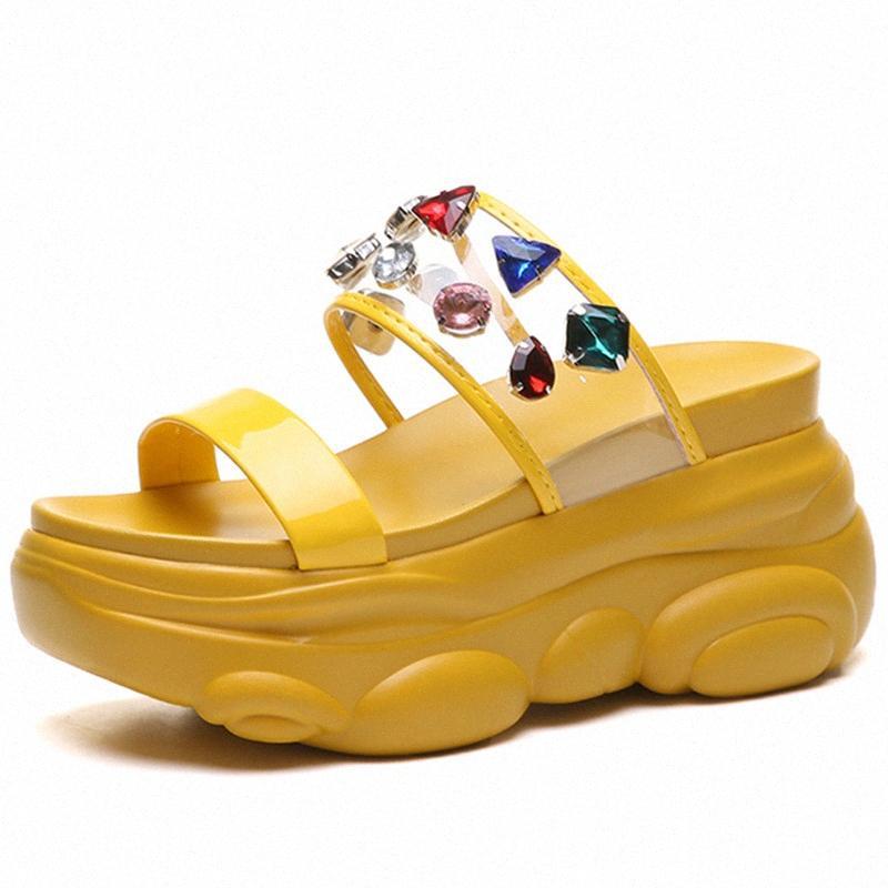 Женский Коренастый обувь ПВХ Ladies толстым дном Тапочки 2020 Летняя женская Коренастый Тапочки Мода Женская обувь клинья Обувь A2lC #