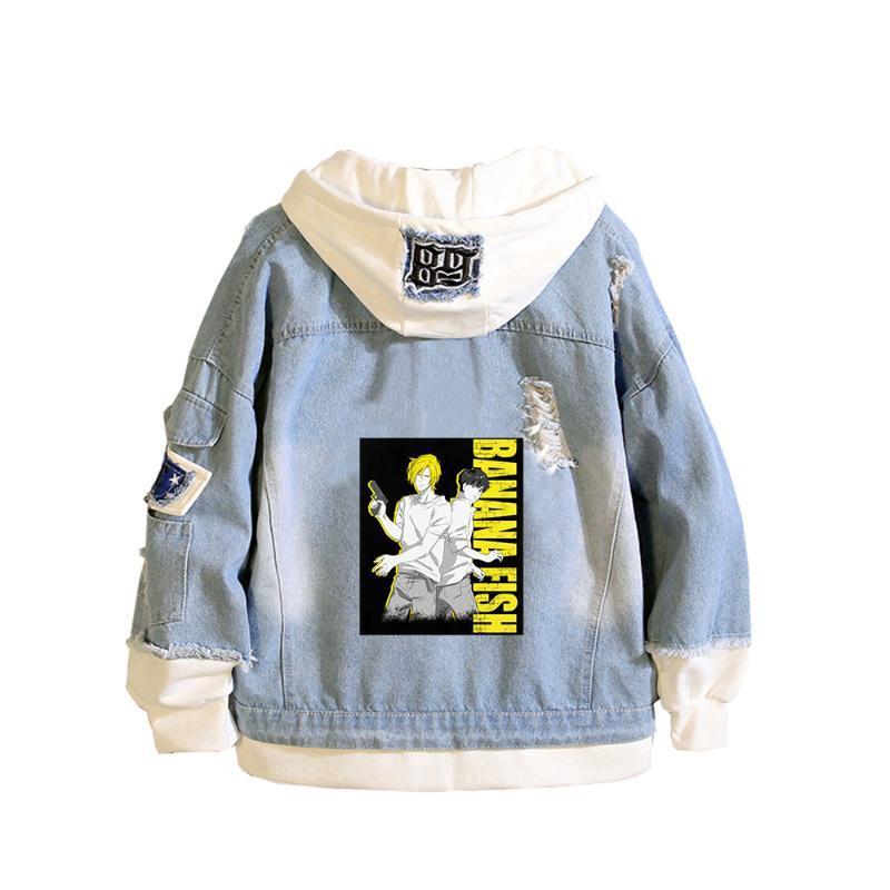 Plátano Pescado Demin Jacket Anime Jeans Sudaderas con capucha Ash Lynx Manga larga Mujer Sudadera Harajuku Boys Streetwear Pareja Ropa