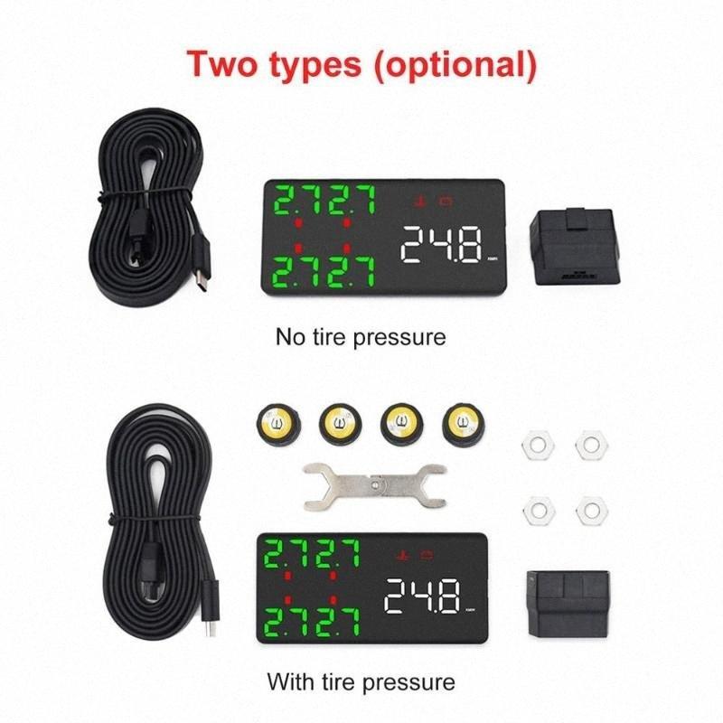 Auto HUD Tire Pressure Monitor Car Head-up Display BT TPMS W/ 4pcs External Sensor Car Trucks Wheel Accessories Vshy#