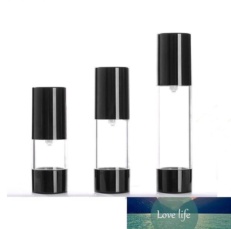 wholesale hot sale new 15ml 30ml 50ml black airless pump bottle empty,30 ml plastic airless Refillable Bottles SN1230