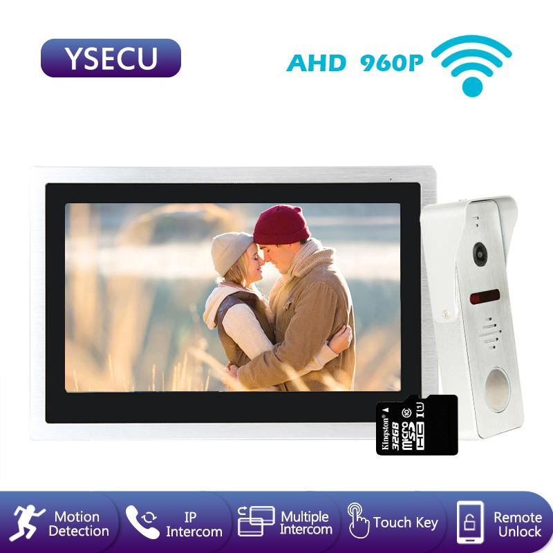 YSECU 10'' AHD 960P WiFi Video Door Phone Wireless Video Intercom for Touch 4 Screen Smart Phone Real-time Control Wide-angel