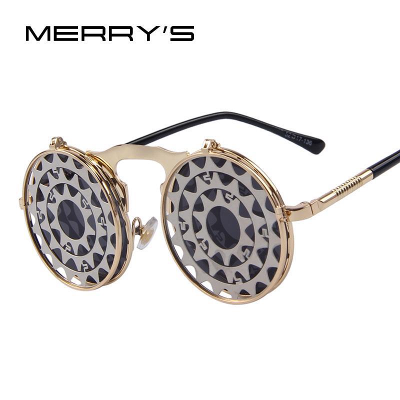 óculos de Merry Vapor Punk gótico garra óculos vintage Personalidade Clamshell Óculos de metal Punk Sun