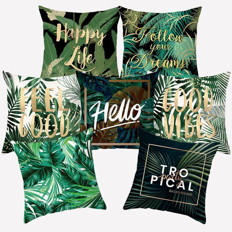 Lettera pianta tropicale del modello Cuscino del tiro di copertura in poliestere Monstera decorativi Cuscini un lato stampato Pillowcover Federe