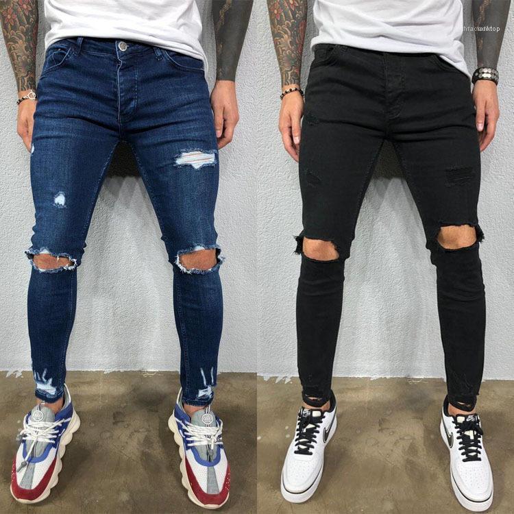 Lápiz de los pantalones vaqueros para hombre masculino Diseñador rasgado Stretch Jeans Azul Negro ocasional sólida flaco