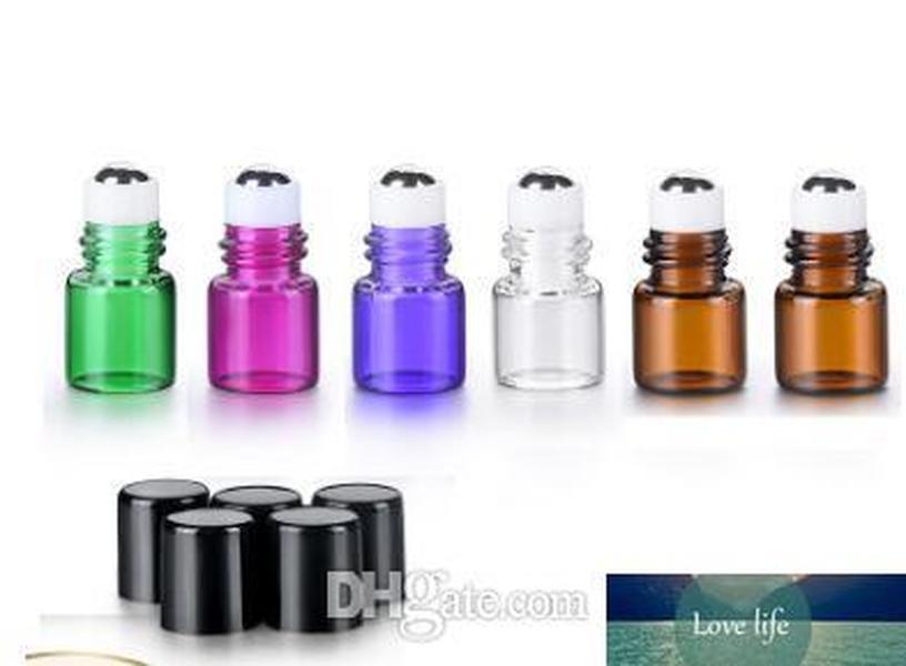 1ml atacado 2ml frascos cilíndricos de metal para óleos essenciais Mini vidro rolo em garrafas com tampa preta