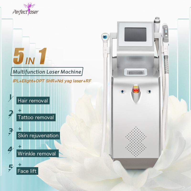 Горячие продажи IPL Opt SHR Лазерная машина для удаления волос ND YAG Система Пигментация Лечение Салон Используйте красоту Оборудование FDA утверждено