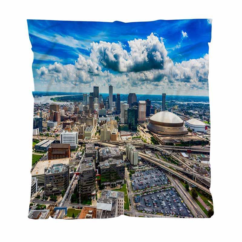 Quente Scenic flanela cobertores de lã toalha, aérea New Orleans Scenic, Couch / Cadeira / Love Seat / Camping Car Blanket