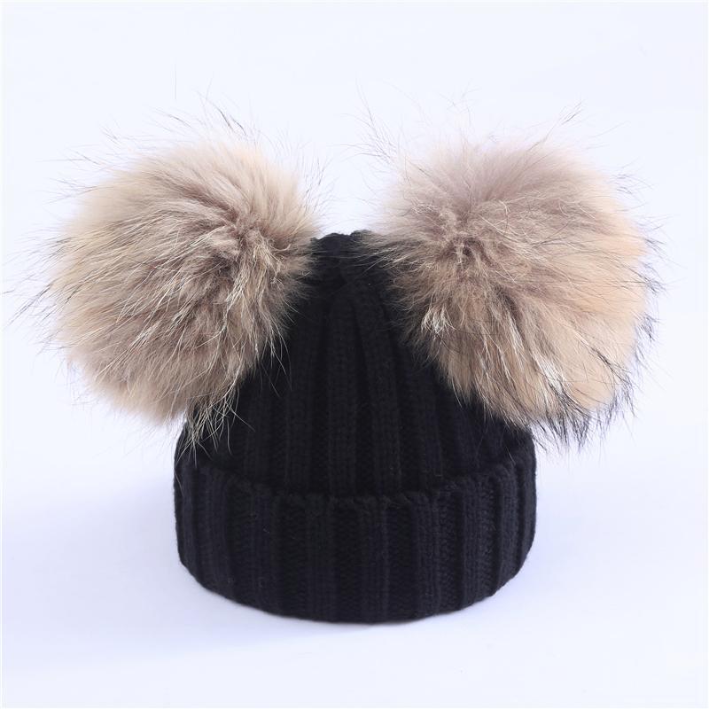 Mutter Kinder warme Winter-Caps wirklicher Pelz Pom Pom Beanie Wolle gestrickter Hut für Baby-Jungen-Mädchen Pompom Raccoon Ball Beanie Cap Bonnet