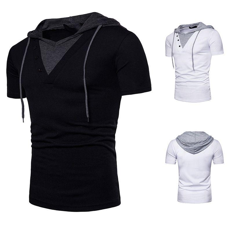 Blanco moda casual negro nuevo falso de dos piezas de los hombres europeos de diseño y el verano estadounidense con capucha de manga corta camiseta