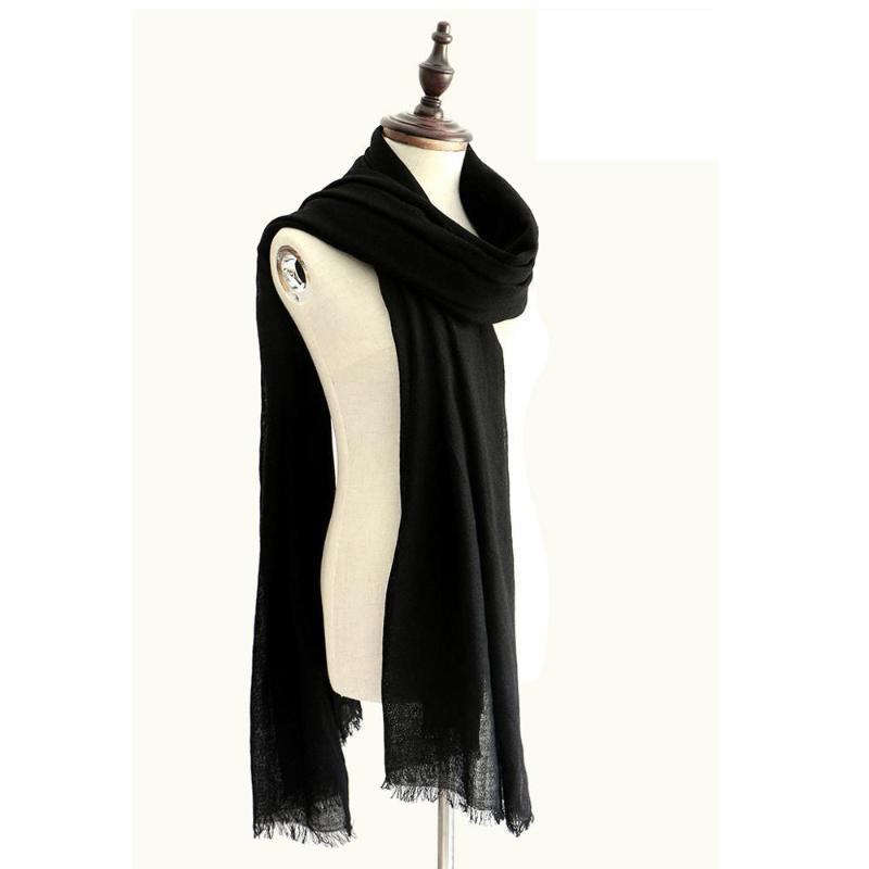 Осень Зима 100% шерсть шаль бренд Plain шарф тонкие и мягкие кашемировые шарфы Люкс 60S womenMen зимы теплые шали шарфы