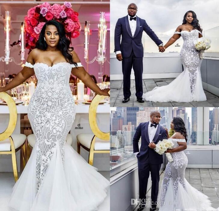 2021 Meerjungfrau Brautkleider Plus Größe schulterfrei Brautkleider Sweep Zug Tüll Spitze Afrikanisches Hochzeitskleid Sonderanfertigte