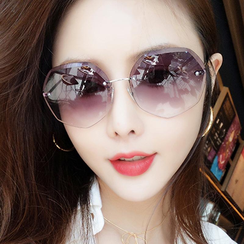 MJ5Bv nuevo sol de las mujeres Gafas de sol de las gafas recortado cara redonda estrella de adelgazamiento Internet Celebrity sol de cristal poligonal