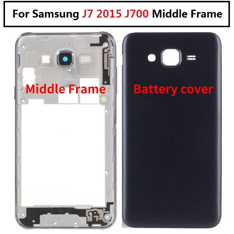 Yan düğmesi ile Samsung Galaxy J5 J7 2015 J700 J700F J500 J500F Sm-j700f Konut Orta Çerçeve Pil Kapağı Arka Arka Kapı İçin