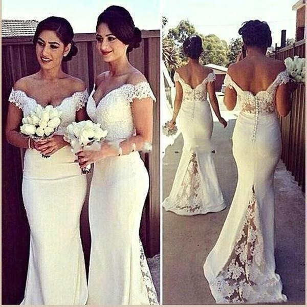 2021 Vestidos de dama de honra fora do ombro lace applique varredura de varredura de vestidos de honra vestidos de festa de casamento personalizado