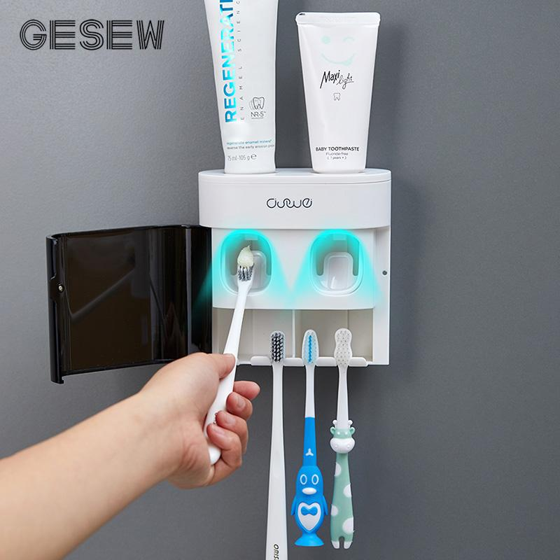 GESEW Automático dentífrico espremedor Multifunction Creme dental Dispenser Escova Magnetic Acessórios Titular WC Casa de Banho