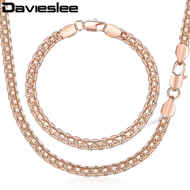 Davieslee Ensemble de bijoux pour les femmes 585 Bracelet en or rose Neckalce Set Bismark Chain Link Dropshipping Bijoux 2020 Cadeau de 5 mm LGS275