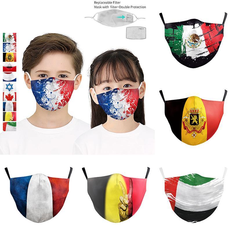 PM2.5 filtre tasarımcı yüz maskeleri HHF868 ile Ulusal Bayrak Desen Çocuklar moda ayarlanabilen koruyucu maske toz 3D dijital baskı