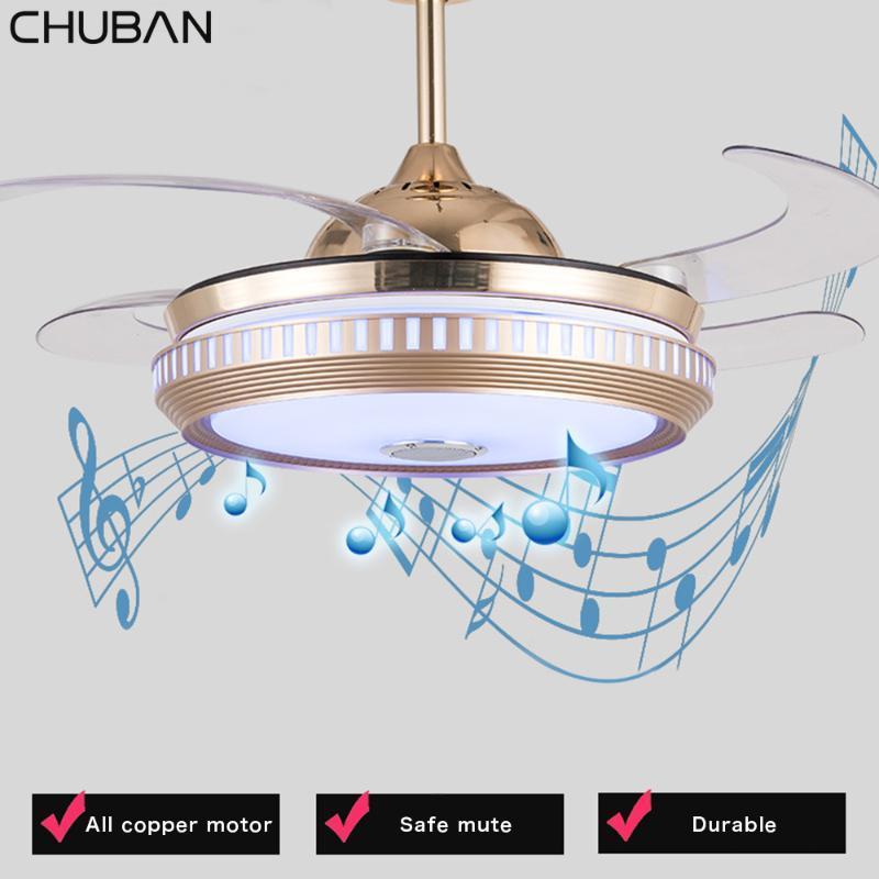 Ретро музыка Потолочные вентиляторы Смарт App Невидимый Led лампы Bluetooth Audio Потолочный светильник с пультом дистанционного управления Ресторан лампы Home Fan