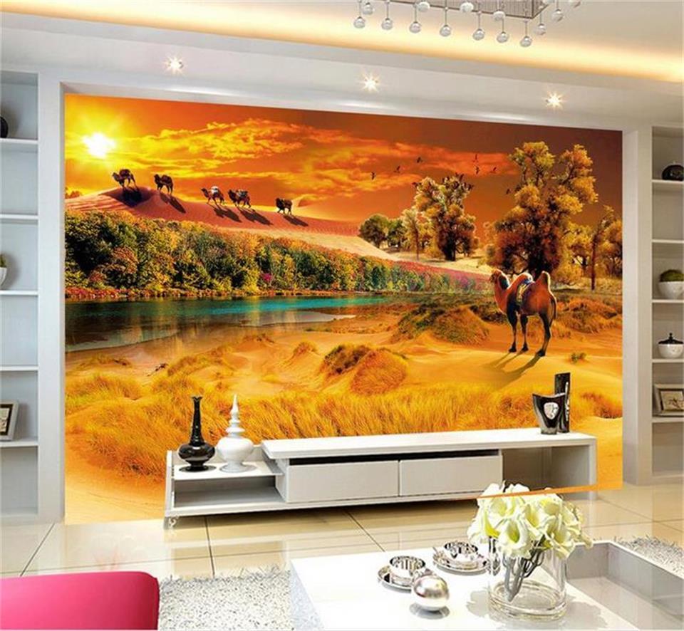 foto sala de estar costume 3d papel de parede mural de opinião do deserto estado verde imagem 3d que pinta adesivo de parede parede de fundo TV papel de parede não-tecido
