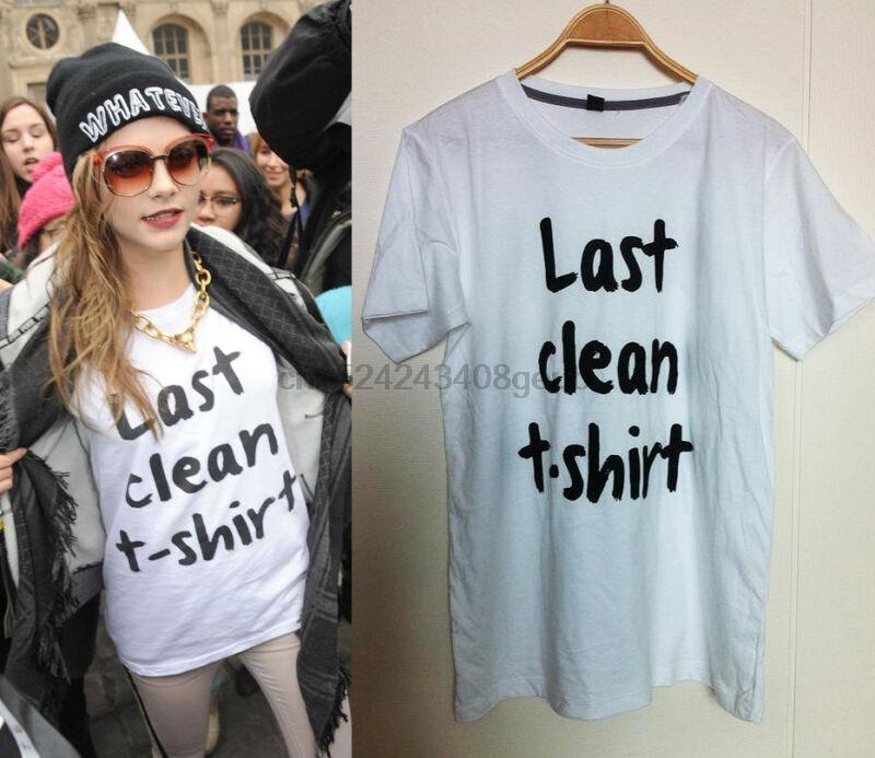 Ultima pulitura T-shirt Cara Delevingne inglese Attrice Modella Celebrity Style