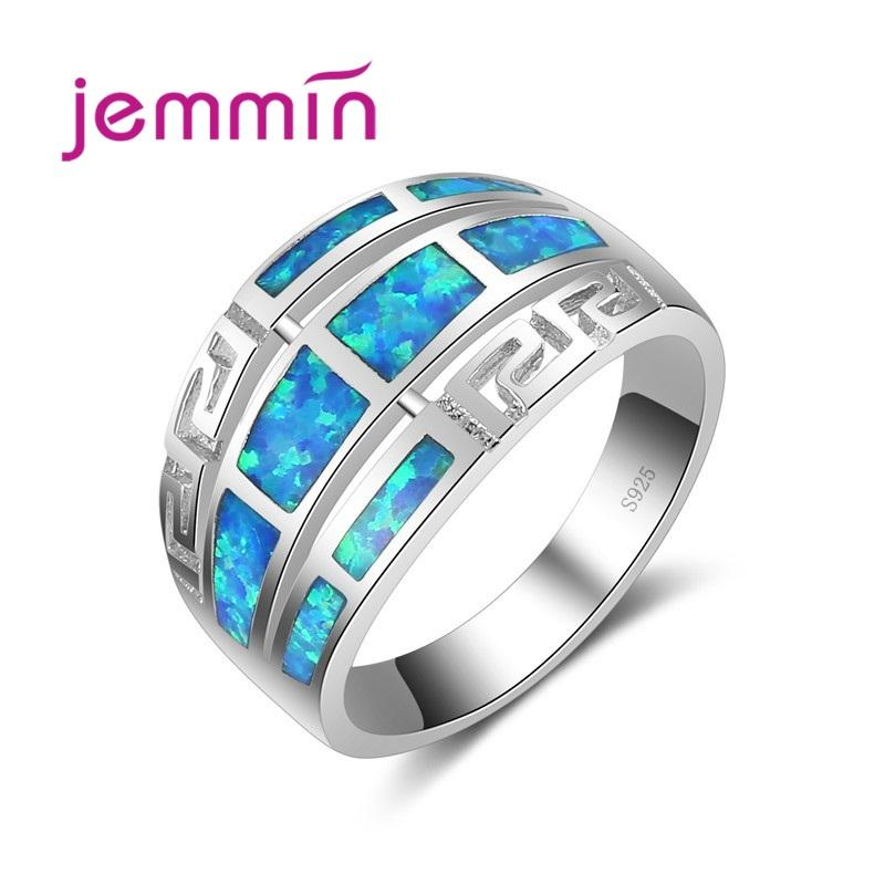 Kadın Gelin Takı Güzel Anillos Mücevher Alyans İçin Yüksek Kaliteli Yeni Mavi Ateş Opal 925 Gümüş Yüzük