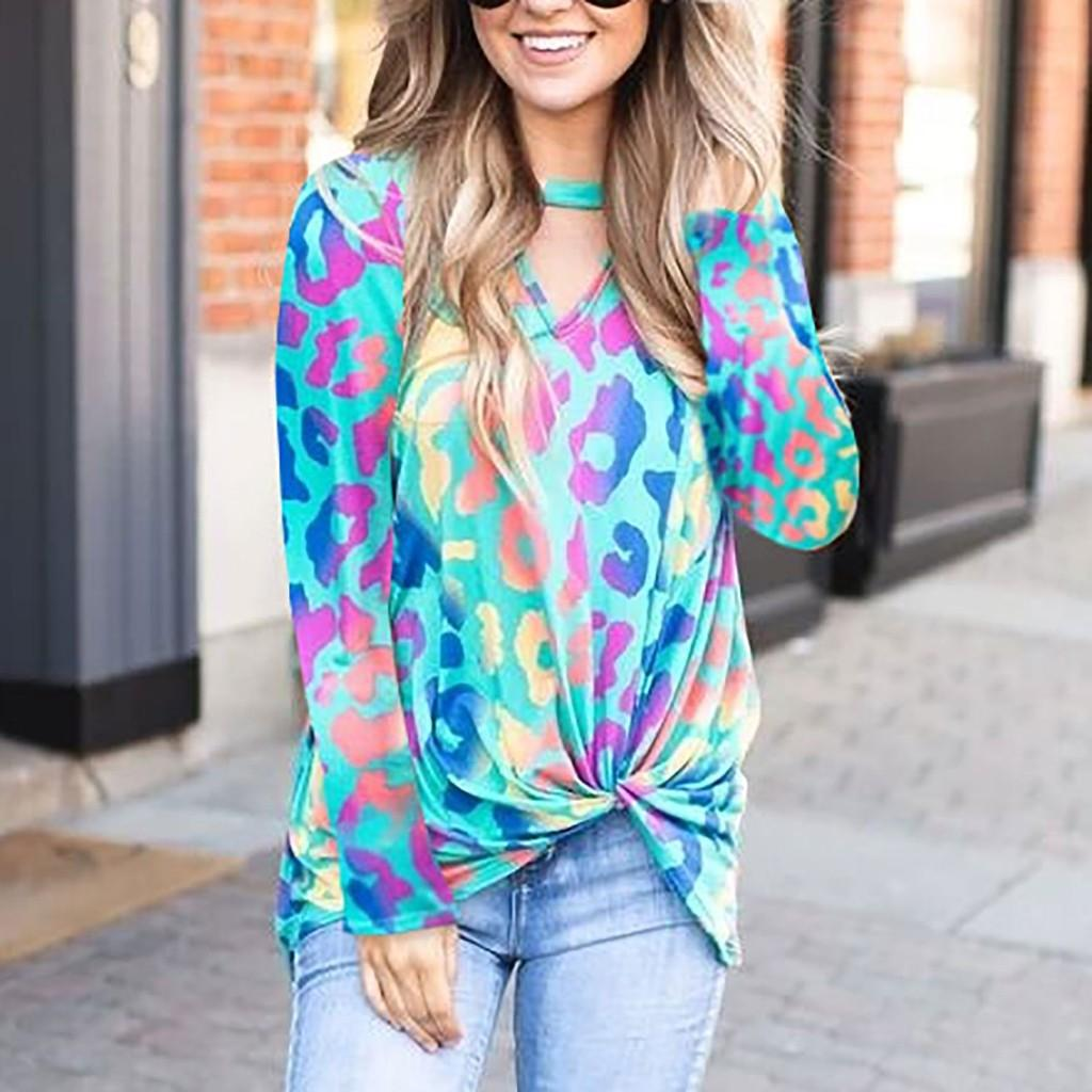 Frauen Langarm-Shirt Bequem Leopard / Stars / Camo V-Ausschnitt T-Shirt Langarm-Knoten lose Pullover Tops Chemise Femme # j4s