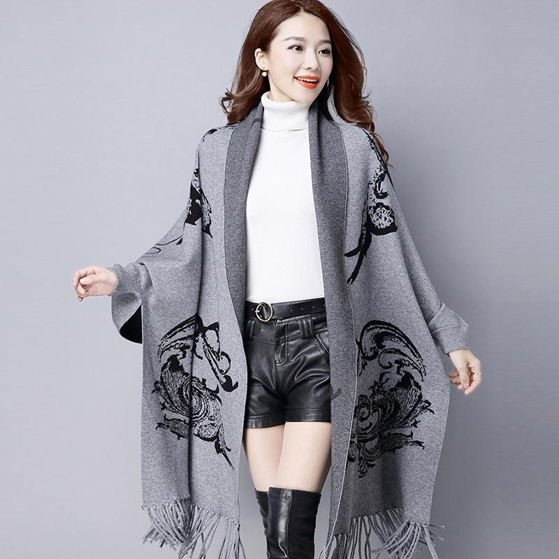 2020 Printemps Automne Nouveau Casual Cardigans Femmes hiver Tassel frangée Foulard imprimé Pull manches solides Batwing Femme Châle YP0466