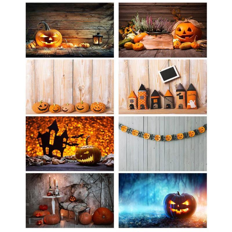Wooden Board Photography Background Halloween Pumpkin Lamp Vinyl Photocall Backdrop for Children Baby Photobooth Photo Studio