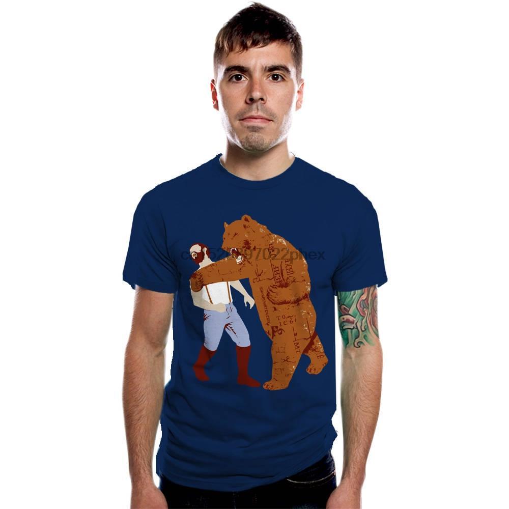 Camisa animales oso tee camiseta divertida de la pantalla regalo impreso por Él Armada algodón de la camiseta del oso de ponche más el tamaño S-4XL camiseta de los hombres