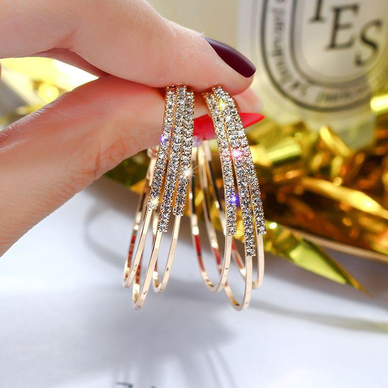 نيو شخصية تصميم المجوهرات هي مناسبة لحفلات الزفاف كاملة من الماس الدائرة الهندسية أقراط، على شكل C-أقراط وأقراط واط