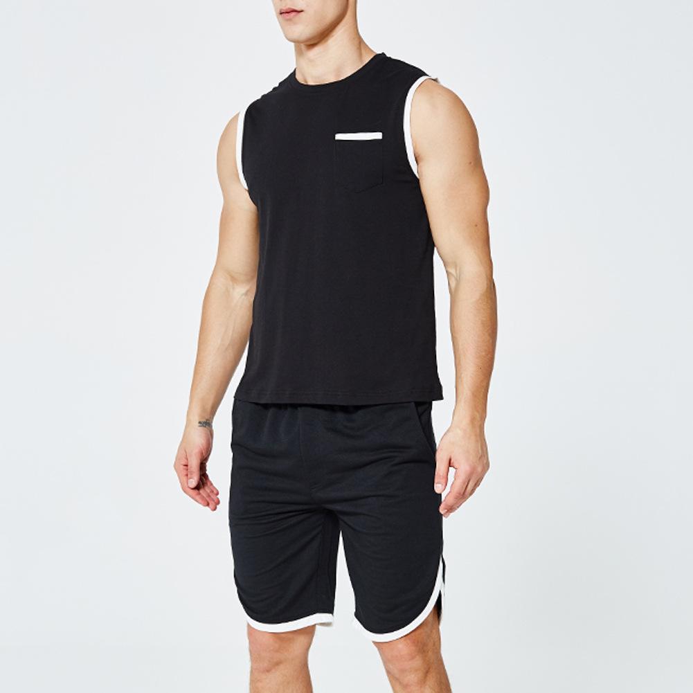 Verão Homens Sportwear Gym Roupas Esporte Terno Basquetebol Camisas Jogging Pants Beach Shorts Fitness Running Sets for Men