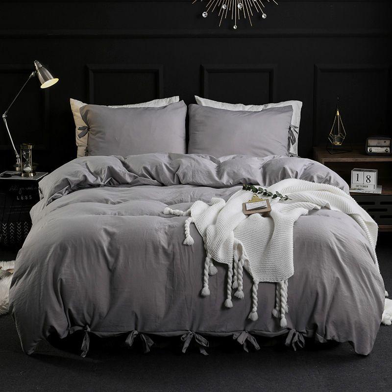 Saf renk dantel dokuma yatak Moda zarif minimalist ev yatak yumuşak ve rahat dört parçalı set kraliçe 4 adet set setleri
