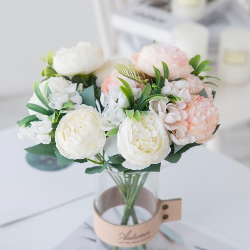 Искусственные цветы Вазы для дома Декор Шелковый Розы Peony Mariage Свадебный букет искусственные растения Рождество Свадьба Декоративный венок