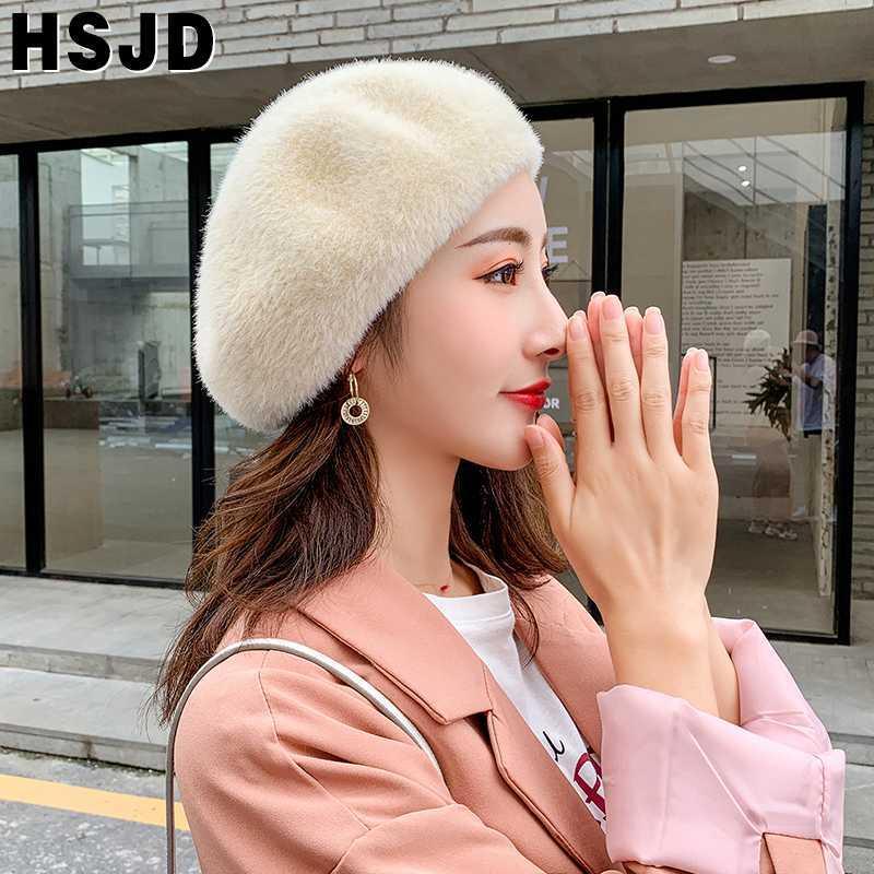 Осень Зима Женщины береты французский классический Сплошной цвет плюша норки кашемира Берет Hat Зимний Теплый Вязание шапки Женщина Walking Cap