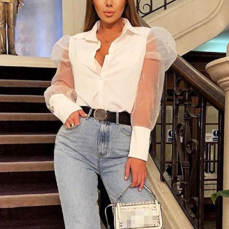 여성용 블라우스 셔츠 Meihuida 여성 숙녀 디자인 패션 퍼프 긴 소매 버블 V 넥 버튼 탑 사무실 우아한