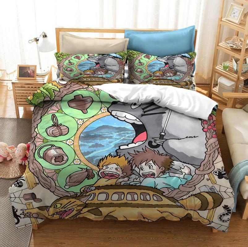 Cartoon Anime Totoro Bedding Set Bedroom Decor Kids Gift Hypoallergenic Quilt Cover 1PC Duvet Cover with Pillowcase Dropship