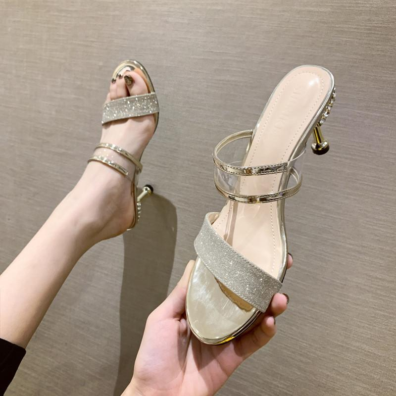 Designer-Schuhe Damen LuxuxRhinestone Kristallpumpen 2020 neue PVC-freie transparenten Slipper Jelly Sandalen Partei High Heels