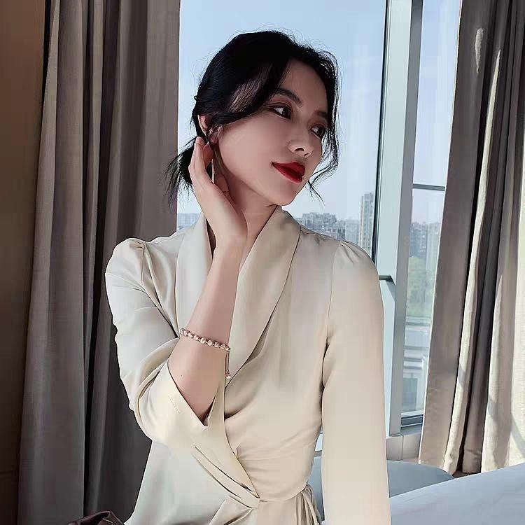 agdYj 2020 New Baroque natürlichen Süßwasser-Perlenohrringe der Frauen Online-Berühmtheit Temperament in besten Perlenarmband Freund Armband
