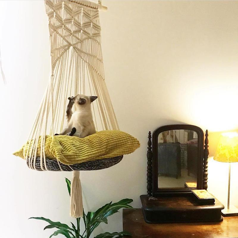 Cat Качели Гамак Boho Стиль Кейдж кровать ручной работа Подвесной сон Стул Сиденье кисточка Кошка игрушка Играть Хлопок Веревки Домашних животных Дома