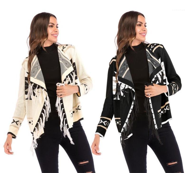 Quaste Geometrische Printed Panelled öffnen Stich Designer Langarm Damen Bekleidung Damen Designer Winterjacke Art und Weise beiläufige