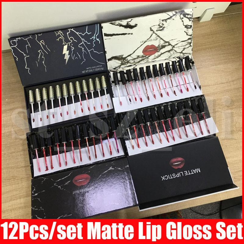 Black White Flash Marble Lip Makeup Full Size 12pcs/set Matte Liquid lipstick Kit Lips Lipgloss Kollection Lip Gloss Set